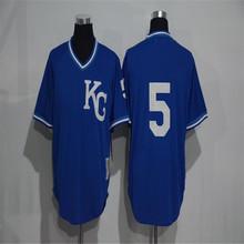 Men's 5 George Brett 16 Bo Jackson Blue Throwback Stitched Jerseys(China (Mainland))
