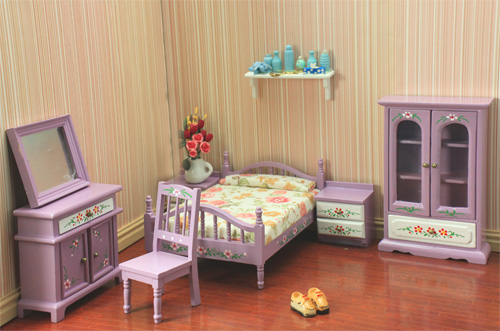 free shipping 2014 Fashion 1/12 scale Dollhouse mini furniture cute wood mini bed room sets for girls(China (Mainland))