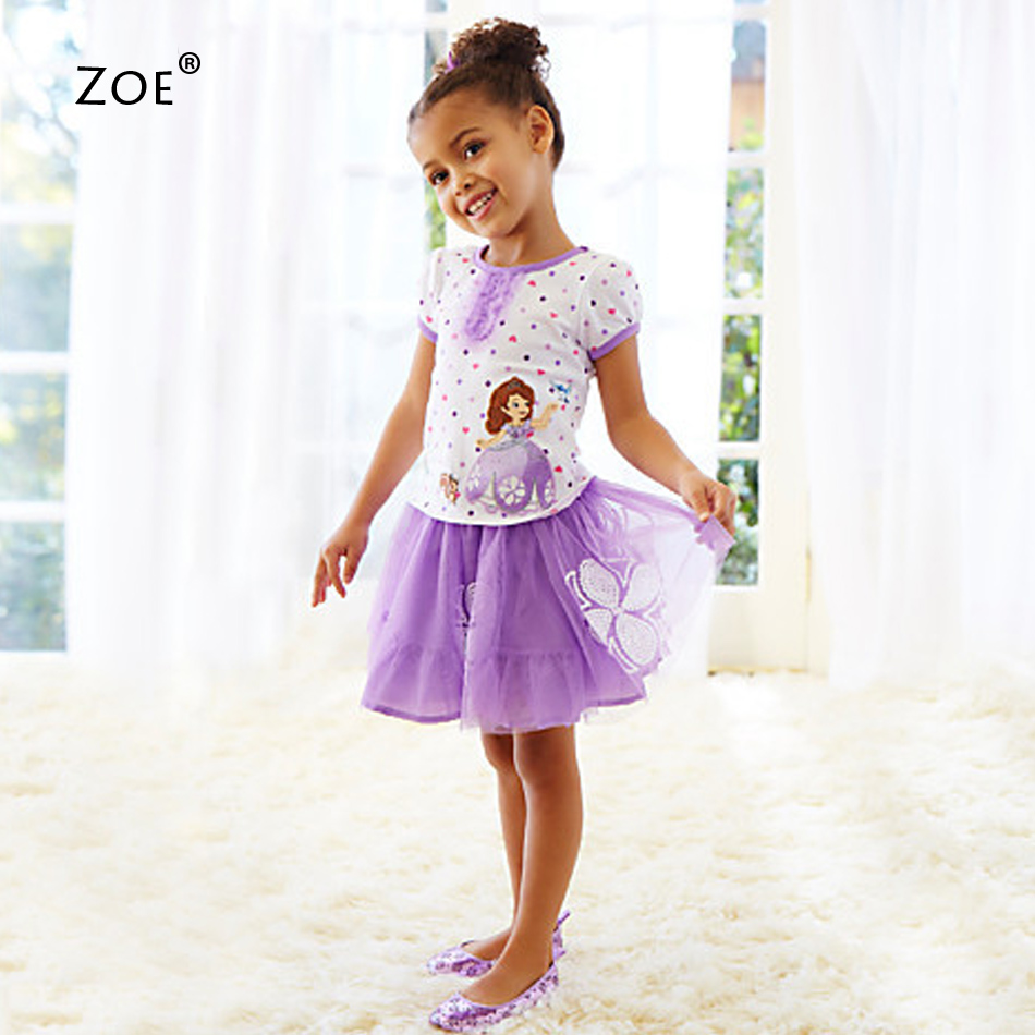 2015 Vestido Princesa Sofia Summer Casual Clothing Set 2 Pieces Lace Tshirts+Short Skirts With Cartoon Clothes Baby Girls Dress(China (Mainland))
