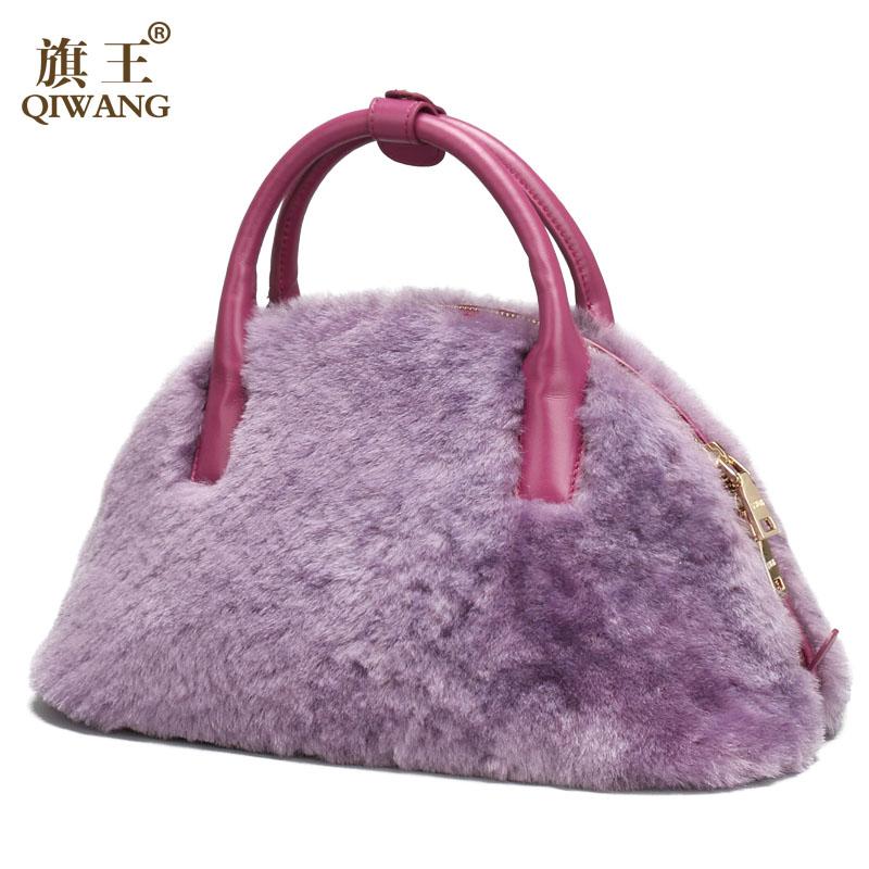 Qiwang 2016 New Fashion Women Bag Leather Sleep Fur  Winter Tote Handle Shell Handbag<br><br>Aliexpress