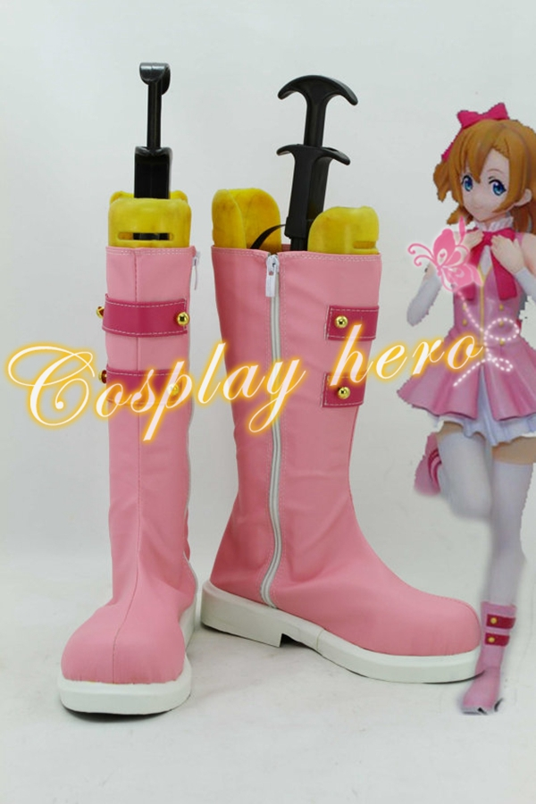 Love Live! LoveLive! Start dash!! Kousaka Honoka Cosplay Shoes Boots pink #LLC016 for Halloween Christmas party shows(China (Mainland))
