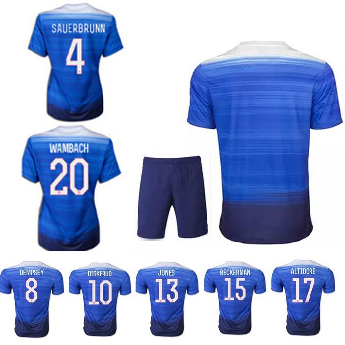 15 16 USA Blue soccer uniform Best quality football kits,BRADLEY DEMPSEY JOHANNSSON DISKERUD JONES ZUSI away soccer jersey(China (Mainland))