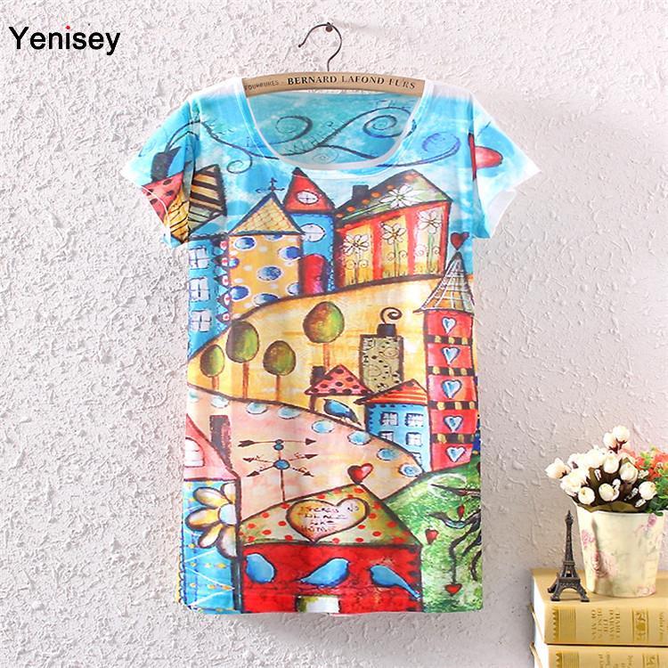 Plus Size New Women's Backing Printing For Graffiti Castle Pattern Interest Roundneck T-shirt Ebay Explosion Models Aliexpress(China (Mainland))