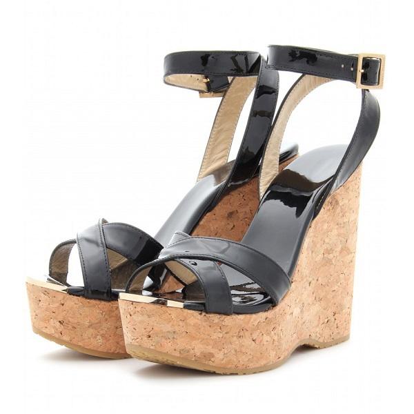 Здесь можно купить  2015 Classic Women Sandals Wedges High Heels Ankle Strap Patent Leather Buckle Strap Chunky Summer Dress Ladies Shoes  Обувь