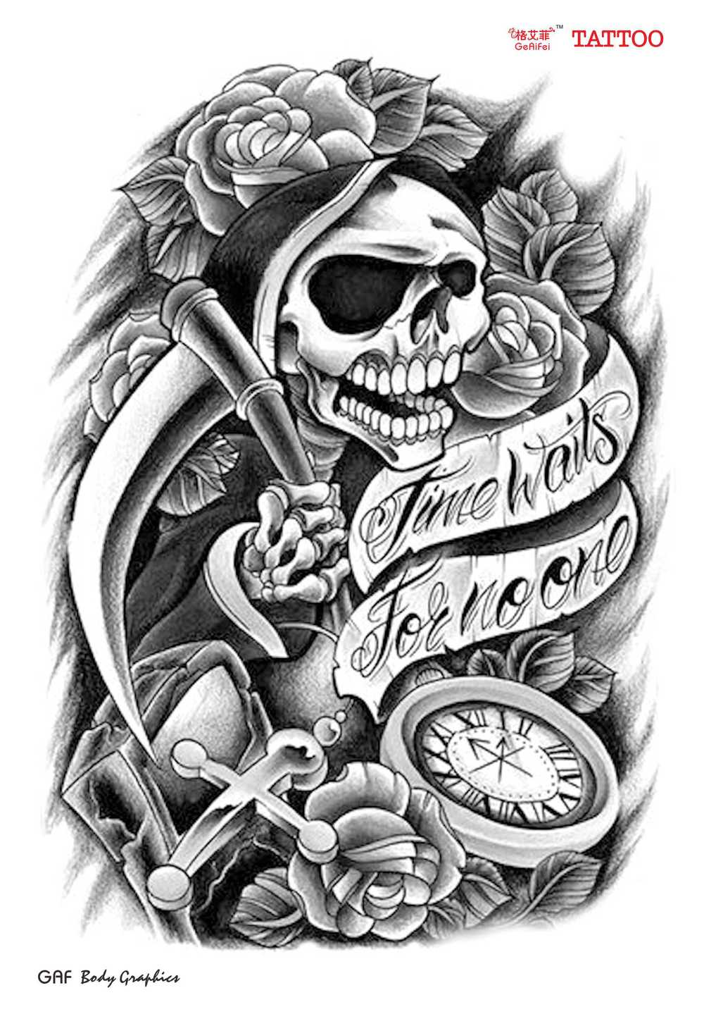 Men women sexy products skull rose designs arm tattoo school styles