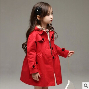 Girls trench children Spring Autumn Winter outerwear baby girls red & khaki color hoodies long coat infant jacket kids - STARRY JADE store