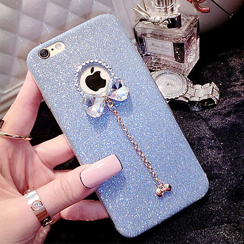 Bling Bow TPU Soft Coque Case For iPhone 5 5s SE With Luxury Fashion Shinny Rhinestone Diamond Best Gift For Women Lady Girl(Hong Kong)