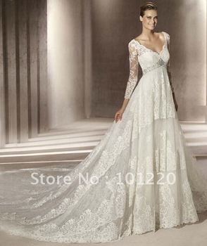 Free Shipping Cap Sleeves Bridal Dress Lace Embroidery Wedding Dresses 2012 Designer Mermaid Wedding Gown