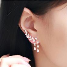 Buy ES206 Stud Earrings Women Crystal Leaf Waterdrop Earring Fashion Jewelry Brincos Bijoux OL Summer Ear Wear HOT Selling for $1.12 in AliExpress store