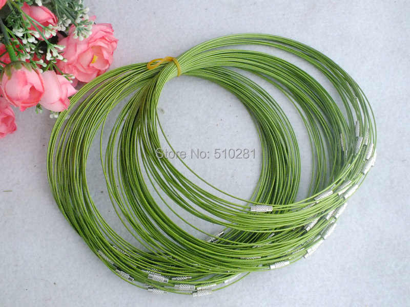 Stainless Steel Wire necklace 1mm Green 100pcs/lot Z-2416(China (Mainland))