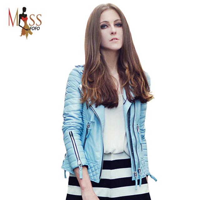 2016 новые осень зима мода улица женщин пу искусственной кожаная куртка голубой молнии ...