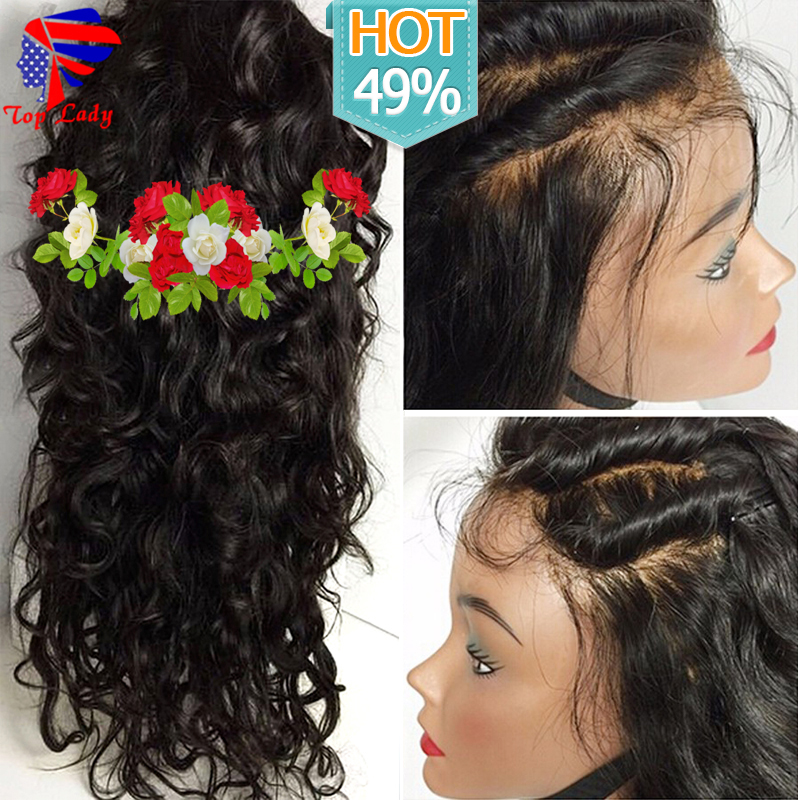 8A Full Lace Human Hair Wigs For Black Women Brazilian Virgin Hair Water Wave Lace Front Wigs Glueless Front Lace Wigs Baby Hair(China (Mainland))