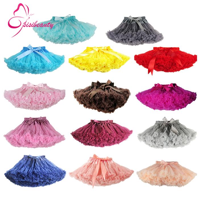 Free Shipping 2-18 Years Fluffy Chiffon Pettiskirts Baby 14 Colors tutu skirts girls Princess Dance Party Tulle Skirt(China (Mainland))