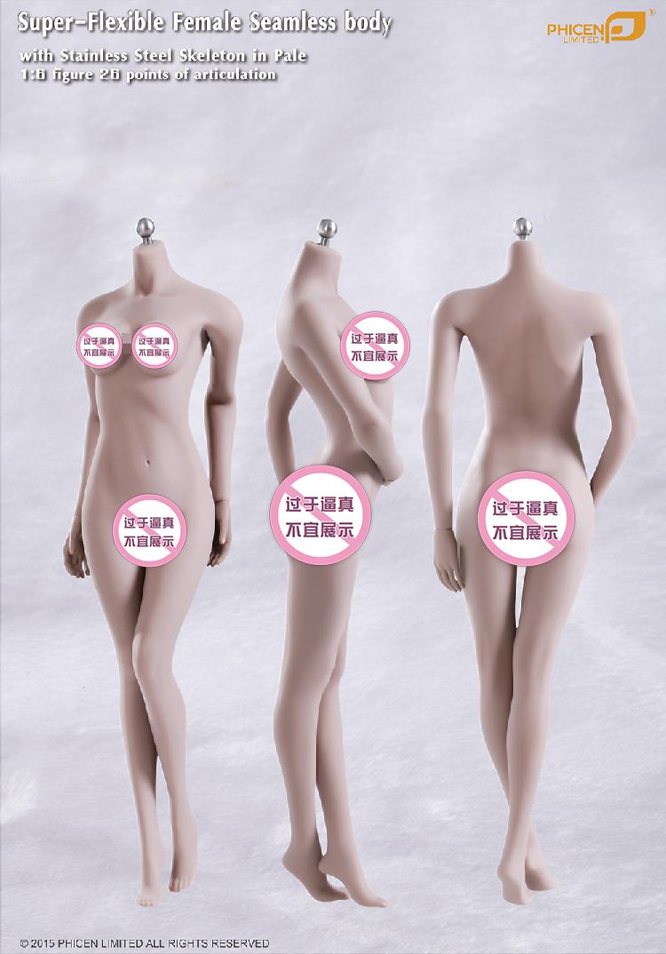 PHICEN Super-Flexible Female Seamless Doll Body 1/6 Figure 26 Point & Stainless Steel Skeleton Model S01A S04B S07C S10D Model