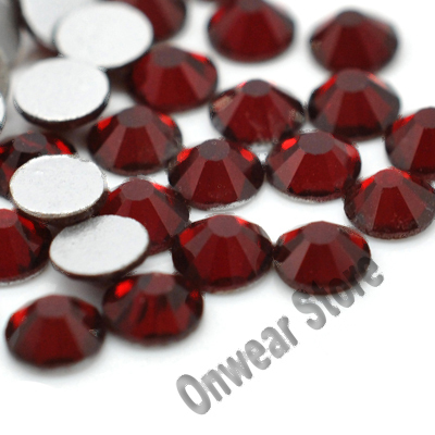 1440pcs/Lot SS12(3.0-3.2mm) Siam Red Non Hotfix Nail Art Glass Glitter Flat Back Crystal Rhinestone Strass(China (Mainland))