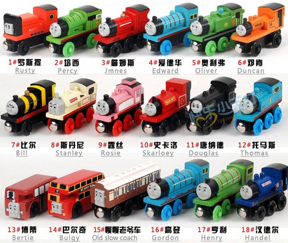 Children wooden Thomas locomotive track train set cheap toys matchbox miniature trucks Wood magnetic model train(China (Mainland))