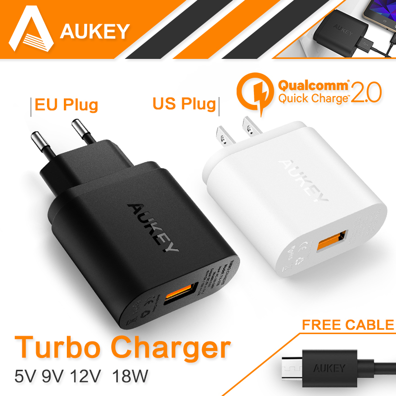 Aukey [Qualcomm Certified] Quick Charge 2.0 18W Turbo USB Turbo Wall Charger with 3.3ft Micro-USB Cable for Android <font><b>Smartphones</b></font>