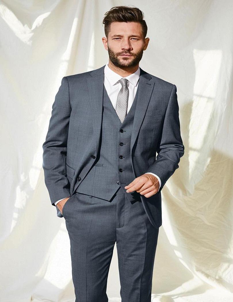 Fashion Grey Mens Suits Notched Lapel Tuxedos Wedding Suits For Men Two Button Grooms,em Suits (jacket+pants+vest+tie)