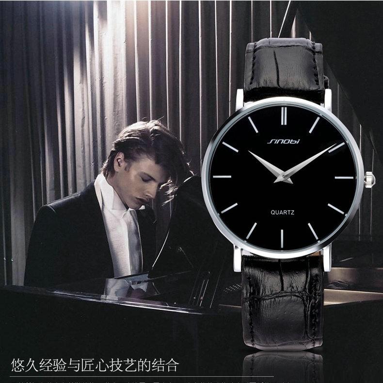 Sinobi 2015 new fashion casual watches men , luxury brand leather strap quartz watch, Ultra thin Men's Casual Watches(China (Mainland))