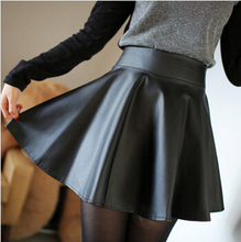 Fashion High Waist Skirts Womens Skirt Women Caual Elastic Waist Mini Pleated Leather Skirts Female saias femininas A2