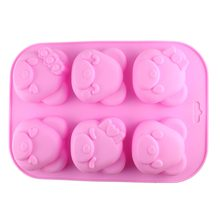 Kitchen Creative Accessories DIY Cupcake Bake 6 Hole Lovely Bear 3D Soap Silicone Pudding Bakery Biscuit Baking Mold CT256