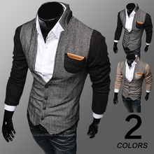 Free shipping 2014 new arrival men's clothing patchwork cardigan stand collar sweatshirt outerwear male sweatshirt outerwearM42 (China (Mainland))