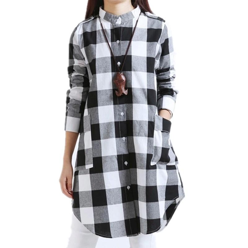 Vestidos 2016 women autumn fall winter long sleeve shirt for Pink checkered dress shirt