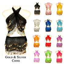 2015 New 2 Pieces Belly Dance Costume Set Warp Hip Scarf Belt Indian Style Golden Coins For Women 12 Colors
