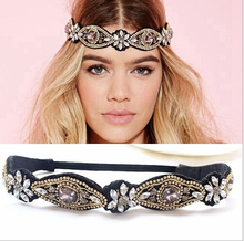 women girls bohemian vintage punk metal seed beads rhinestone braided knitted flower headband hair accessories(China (Mainland))