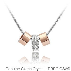 Classic Design! 3 beads pendant necklace made with Preciosa Czech crystal