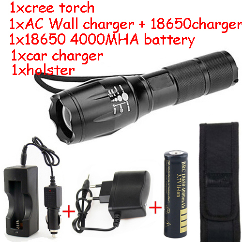 Waterproof Adjustable Focus Zoom 5 Mode 2000 lm CREE T6 LED Flashlight for Camping Hiking Cycling Torch Light kit(China (Mainland))