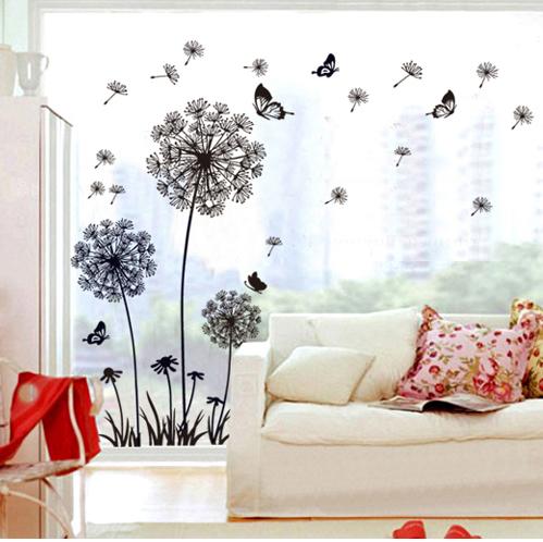 Black dandelion glass wall stickers decals adhesive for Dandelion wall mural