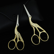 Vintage Retro Stainless Steel Crane Pattern Makeup Cosmetic Convenient Scissors eyelash extension tool(China (Mainland))