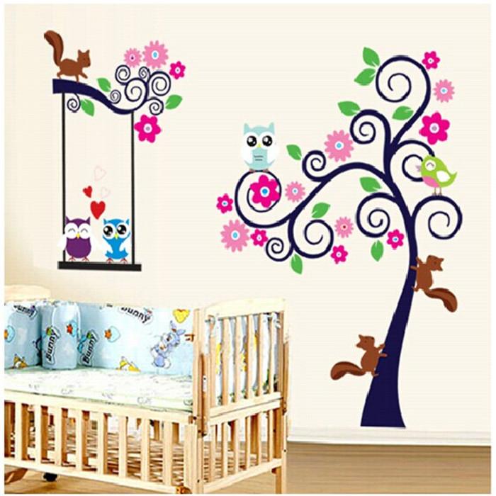 Buy Owl Cartoon Animal Tree Wallpaper For