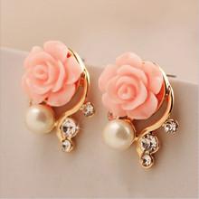 fashion jewelry 2015 new earrings for women simple crystal Imitation diamond pearl rose flower stud earring 163