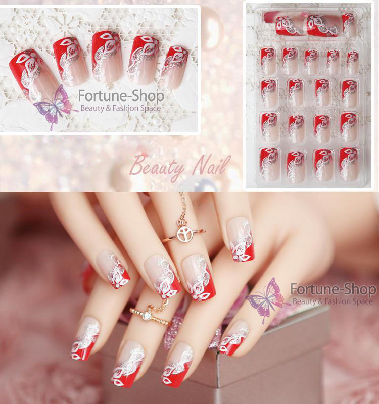 24pcs/set Beauty Pre Design Nail Tips Acrylic Nails Full French nail tips 3d False Nail With Free Glue JQ030(China (Mainland))