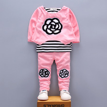 Buy 2017 new Spring children girls clothing sets Flower autumn clothes 2 color tops t shirt leggings pants baby kids 2 pcs suit for $15.90 in AliExpress store