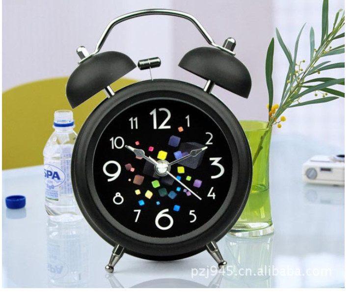 2015 New clock one pcs resell Silent night light metal large bell alarm clock 4 inch colorful rubik's cube(China (Mainland))