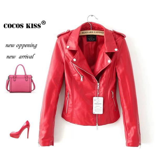2015 leather female jacket lapel Длинный Рукавd jacket Кожа PU является высокотехнологичным ...