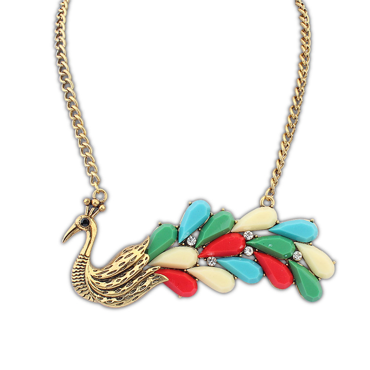 Hot Sale Jewellery Real Peacock Gorgeous Baby Chain Girl Pendant Necklace Female Necklaces Bridal Wedding Necklace For Women(China (Mainland))