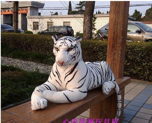 lovely plush simulaiton tiger toy big white tiger doll new creative lying tiger doll gift about 90cm(China (Mainland))