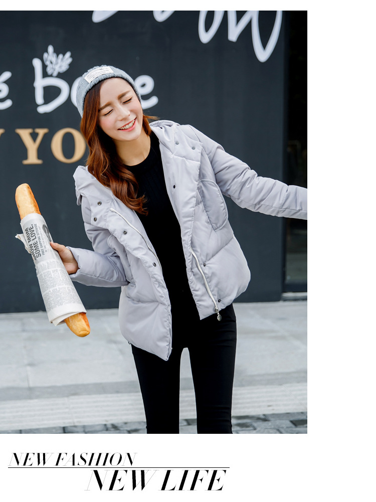Fashion Slim Winter Coat 2016 Casual Hooded Solid Color Women Short Parka Plus Size Epaulet Invierno Black Mujer Cotton Jacket