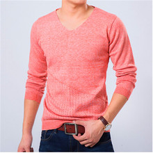 2014 New Spring 7 Colors Casual Men Sweater Brands Sweater Winter Men's V-Neck Cotton Sweater Jumpers Pullover Sweater Men Cloth(China (Mainland))