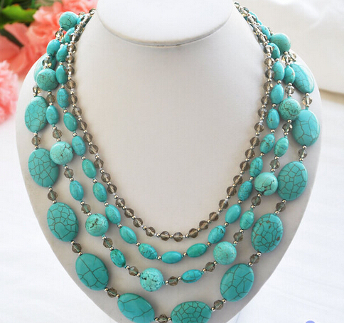 """xiuli 002059 4row 21"""" blue turquoise faceted smoky quartz bead necklace (c0323)(China (Mainland))"""