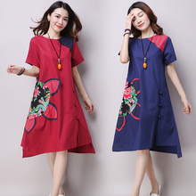 Summer Plus size Women's Clothing Vintage National Style one-piece dress women Casual Patchwork Embroidery A-line Dresses