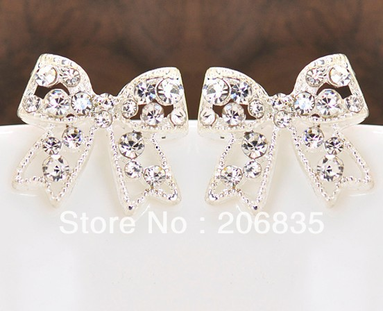 Cute Full Rinestone Alloy Rhinestone Earrings Charming Bowknot Earrings(China (Mainland))