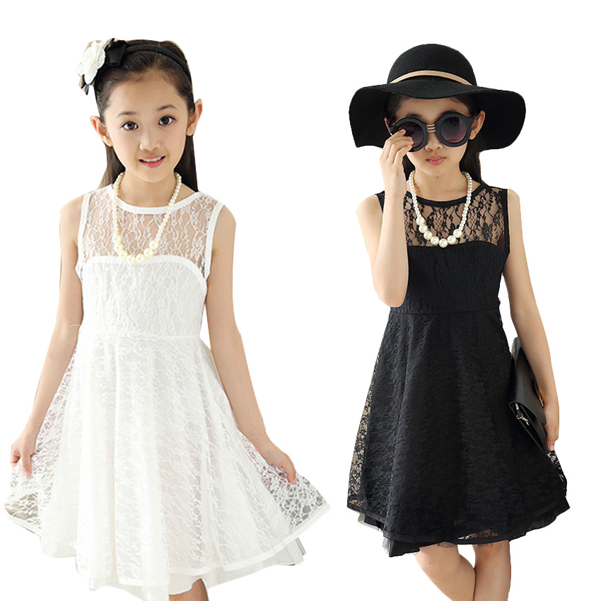 Girl Dress Summer 2016 Cotton Kids Party Dresses 0-Neck Sleeveless Lace Kids Clothes For Girls Toddler Girls Dresses Summer 4-12<br><br>Aliexpress