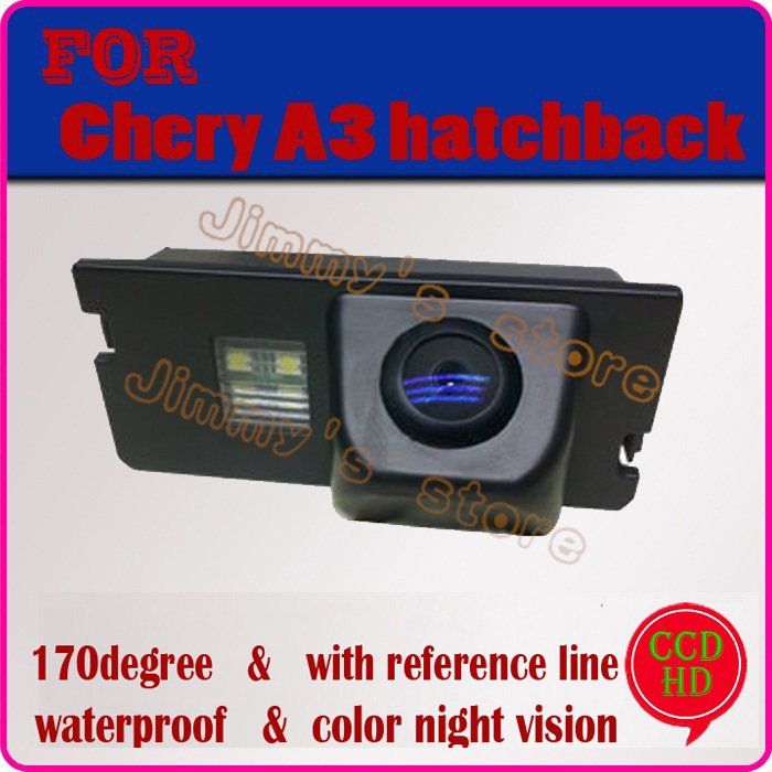 Color CCD HD car rear view camera rearview  monitor parking system car monitor rear viewer for Chery A3 hatchback night vision