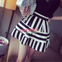 Women Vintage Mini Skirts Casual Girl Striped Skirt