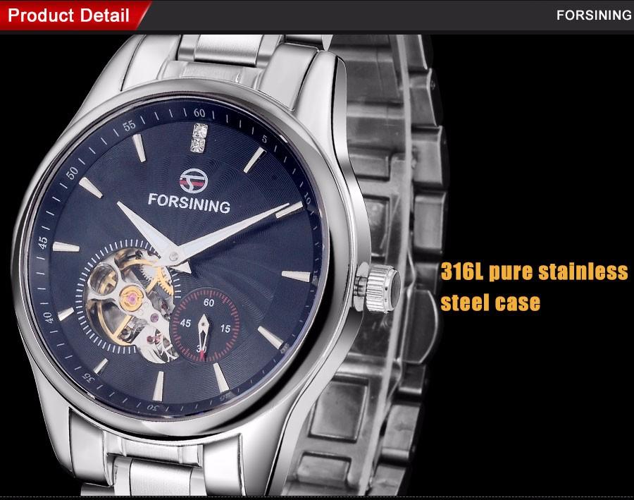 2016 FORSINING марка мужчины часы роскошные tourbillion автоматическая самостоятельная ветер смотреть черный циферблат импортированы из нержавеющей стали 316L группа